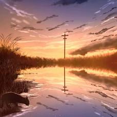 夕暮れの背景のユーザーアイコン